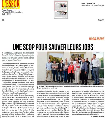 Article de presse L'essort de l'Isère ARTSCOP BOIS