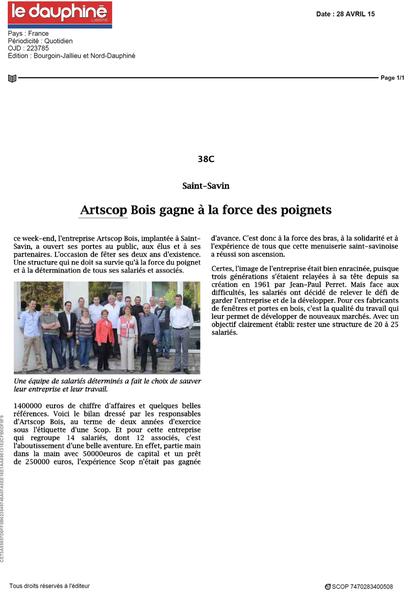 Article de presse Le Dauphiné Libéré ARTSCOP BOIS
