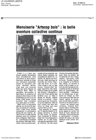 Article de presse Le courrier Liberté ARTSCOP BOIS